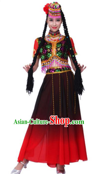 Traditional Chinese Ethnic Dance Clothing, Uigurian Minority Folk Dance Costume and Headwear for Women
