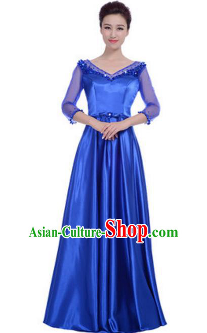 Top Grade Chorus Singing Group Royalblue Full Dress, Compere Modern Dance Costume for Women