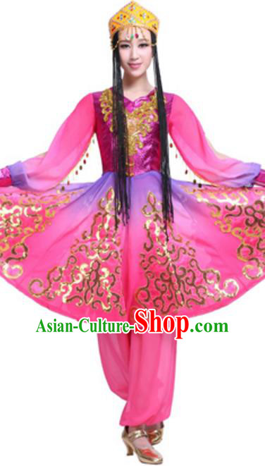 Traditional Chinese Uyghur Ethnic Dance Rosy Dress, Uigurian Minority Folk Dance Costume and Headwear for Women