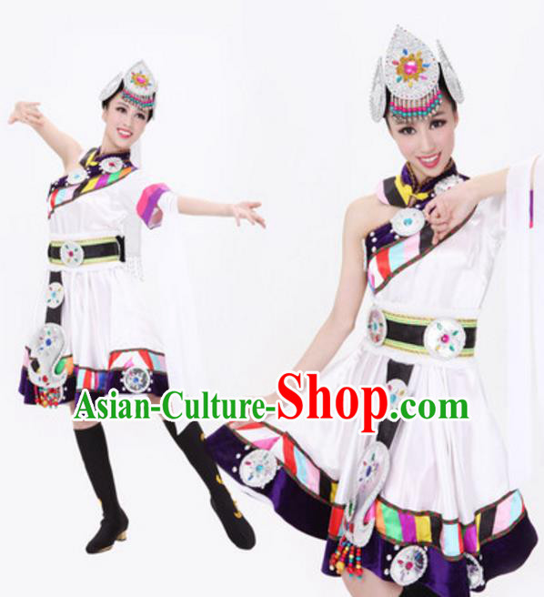 Traditional Chinese Zang Nationality White Dress, Tibetan Minority Folk Dance Ethnic Costume and Headwear for Women