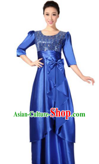 Top Grade Chorus Singing Group Royalblue Sequins Full Dress, Compere Classical Dance Costume for Women