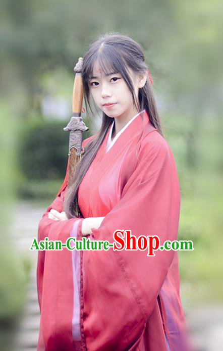 Chinese Ancient Female Knight-errant Hanfu Dress Jin Dynasty Swordsman Costumes for Women