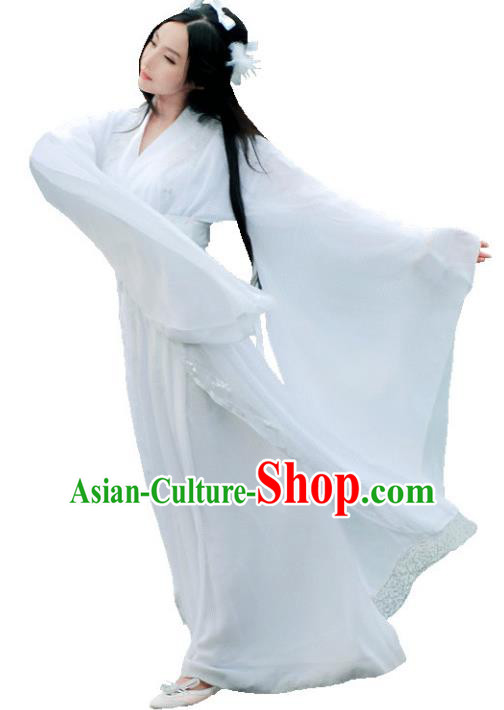 Chinese Ancient Fairy White Hanfu Dress Tang Dynasty Palace Princess Costumes for Women
