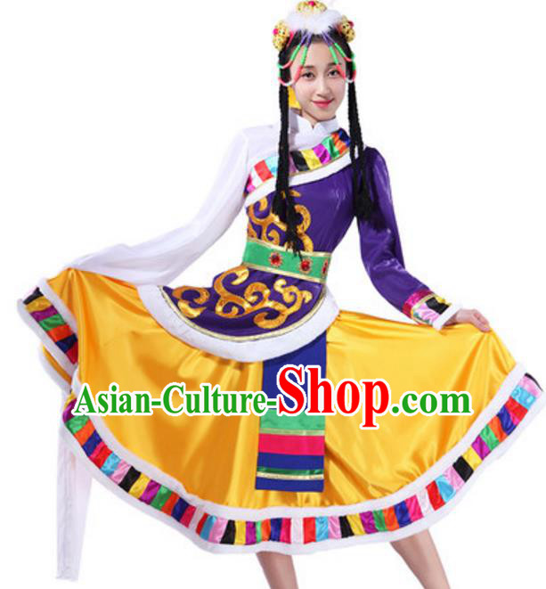 Traditional Chinese Zang Ethnic Clothing, China Tibetan Minority Folk Dance Costume and Headwear for Women