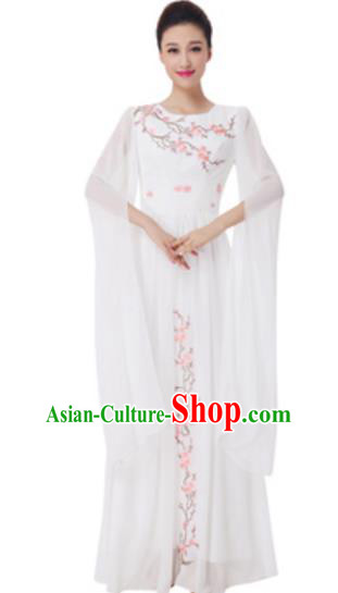 Top Grade Chorus Group Choir Embroidered White Full Dress, Compere Stage Performance Modern Dance Costume for Women