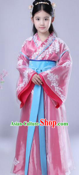 Traditional Chinese Ancient Princess Costume Han Dynasty Palace Lady Historical Clothing for Kids