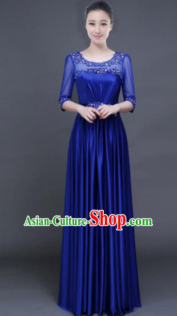 Top Grade Chorus Group Royalblue Full Dress, Compere Stage Performance Classical Dance Choir Costume for Women
