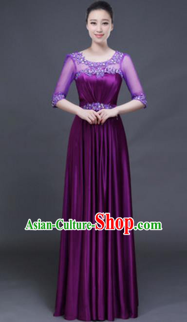 Top Grade Chorus Group Purple Full Dress, Compere Stage Performance Classical Dance Choir Costume for Women
