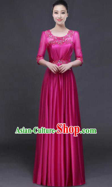 Top Grade Chorus Group Rosy Full Dress, Compere Stage Performance Classical Dance Choir Costume for Women