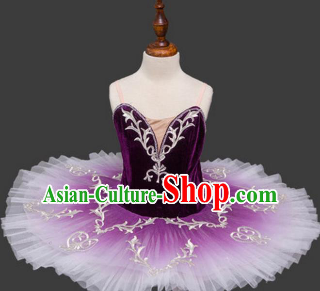 Top Grade Ballet Dance Costume Purple Bubble Dress Ballerina Dance Tu Tu Dancewear for Women
