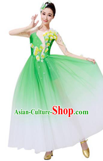 Top Grade Chinese Classical Dance Green Dress, Compere Stage Performance Choir Costume for Women