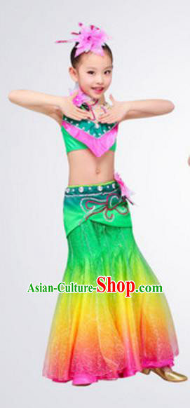 Traditional Chinese Dai Nationality Peacock Dance Costume, Chinese Ethnic Pavane Dance Clothing for Kids