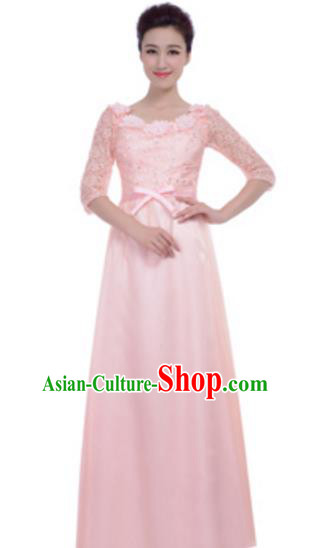 Top Grade Chorus Group Pink Full Dress, Compere Stage Performance Choir Costume for Women