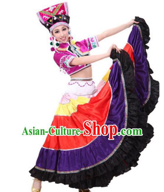Traditional Chinese Yi Nationality Dance Dress, China Yi Minority Folk Dance Ethnic Costume and Hat for Women