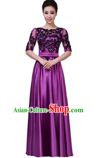 Top Grade Chorus Group Purple Long Full Dress, Compere Stage Performance Choir Costume for Women