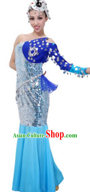 Traditional Chinese Dai Nationality Princess Clothing, China Dai Minority Peacock Dance Ethnic Costume and Headwear for Women