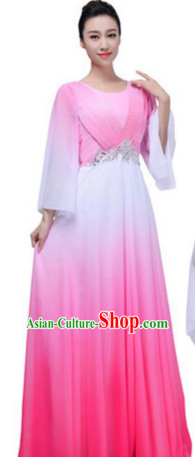 Top Grade Chorus Group Choir Pink Full Dress, Compere Stage Performance Modern Dance Costume for Women
