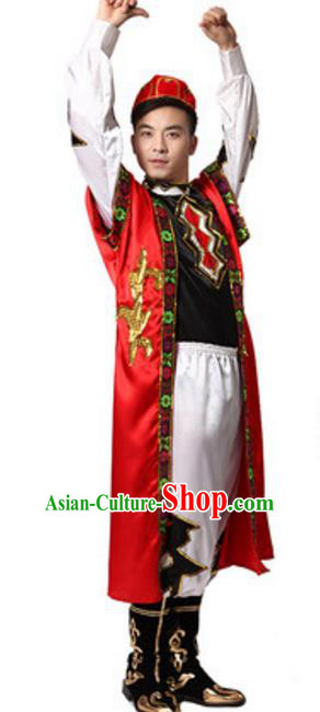 Traditional Chinese Xinjiang Nationality Dance Clothing, China Uigurian Minority Ethnic Costume for Men