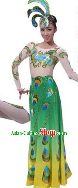 Traditional Chinese Dai Nationality Peacock Dance Costume, Chinese Ethnic Pavane Dance Dress for Women