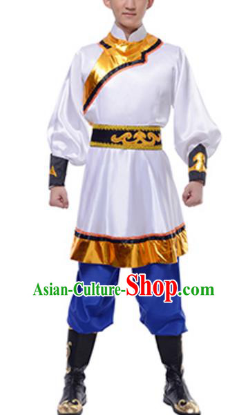 Traditional Chinese Mongols Nationality White Clothing, China Mongolian Minority Dance Ethnic Costume for Men
