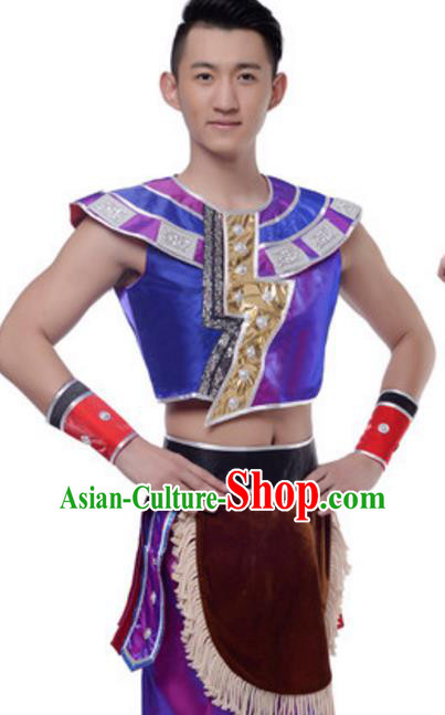 Traditional Chinese Dai Nationality Costume, Chinese Dai Ethnic Dance Purple Clothing for Men