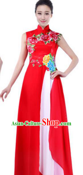 Top Grade Chinese Chorus Group Red Full Dress, Compere Stage Performance Choir Costume for Women