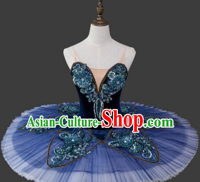 Top Grade Ballet Dance Costume Navy Bubble Dress Ballerina Dance Tu Tu Dancewear for Women