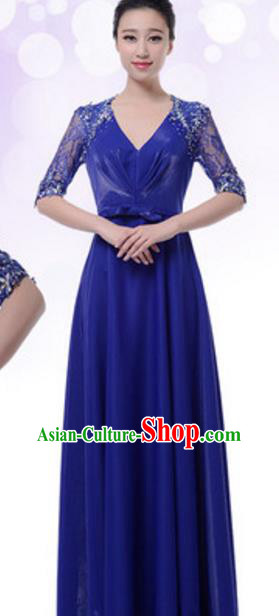 Top Grade Chorus Group Blue Full Dress, Compere Stage Performance Choir Costume for Women