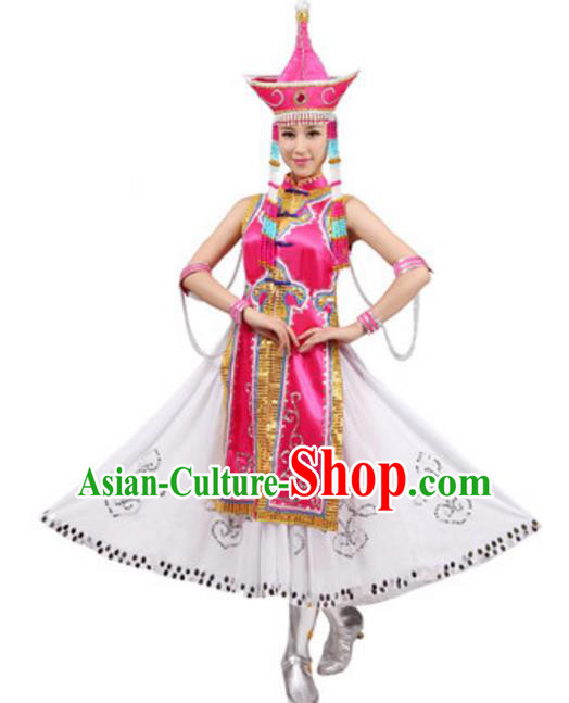 Traditional Chinese Mongolian Nationality Costume, Chinese Mongols Princess Ethnic Dance Pink Dress Clothing and Hat for Women