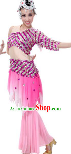 Traditional Chinese Dai Nationality Costume, Chinese Peacock Dance Ethnic Pink Dress Clothing and Headwear for Women