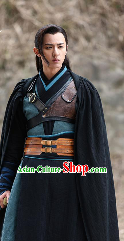 Traditional Chinese Ancient Assassinator Jing Ke Costume Qin Dynasty Swordsman Clothing for Men