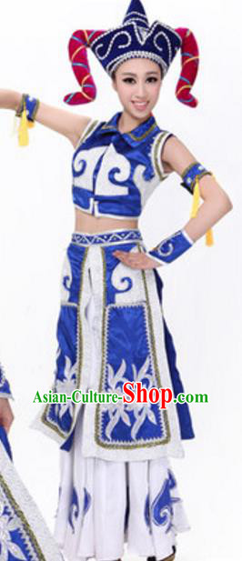 Traditional Chinese Mongols Nationality Blue Dress, Chinese Mongolian Female Ethnic Folk Dance Costume and Headwear for Women