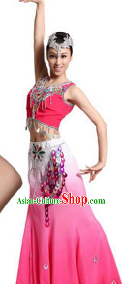 Traditional Chinese Dai Nationality Dance Dress, Chinese Dai Female Ethnic Peacock Dance Costume and Headwear for Women