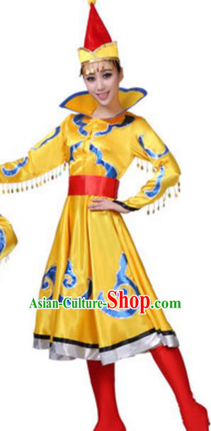 Traditional Chinese Nationality Yellow Mongolian Robe, China Mongols Ethnic Dance Costume and Hat for Women