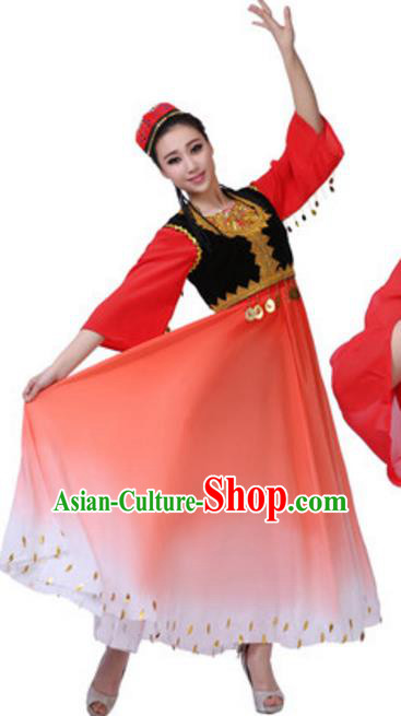 Traditional Chinese Uyghur Nationality Red Dress, China Uigurian Ethnic Dance Costume and Hat for Women