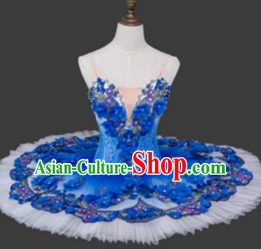 Top Grade Ballet Costume Blue Bubble Dress Ballerina Dance Tu Tu Dancewear for Women