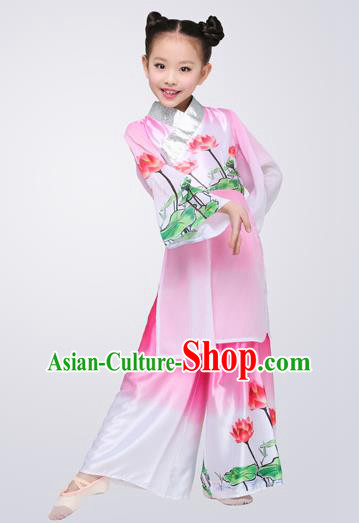 Top Grade Children Classical Dance Lotus Dance Pink Clothing, Chinese Stage Performance Folk Dance Costume for Kids