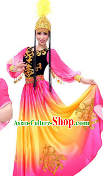 Traditional Chinese Uyghur Nationality Rosy Dress, China Uigurian Ethnic Dance Costume and Hat for Women