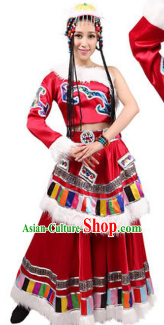 Traditional Chinese Zang Nationality Red Dress, China Tibetan Ethnic Dance Costume and Hat for Women