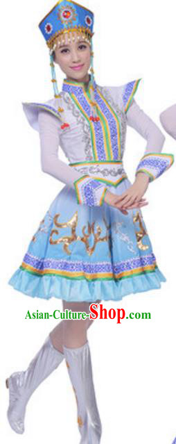 Traditional Chinese Mongol Nationality Dress, China Mongolian Ethnic Dance Costume and Hat for Women