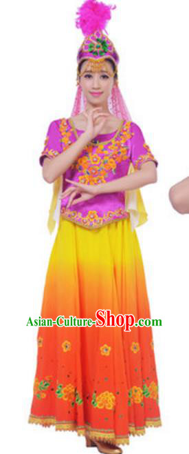 Traditional Chinese Uigurian Nationality Yellow Dress, China Uyghur Ethnic Dance Costume and Headwear for Women