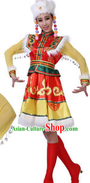 Traditional Chinese Mongols Nationality Female Dress, China Mongolian Ethnic Dance Costume and Headwear for Women