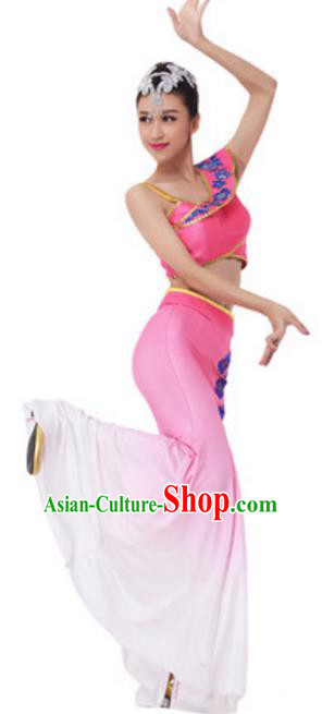 Traditional Chinese Dai Nationality Female Pink Dress, China Dai Ethnic Peacock Dance Costume and Headwear for Women