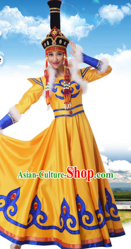 Traditional Chinese Mongols Nationality Princess Yellow Dress, China Mongolian Minority Ethnic Dance Costume and Headwear for Women