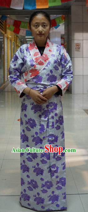 Chinese Traditional Zang Nationality Purple Brocade Dress, China Tibetan Heishui Dance Costume for Women