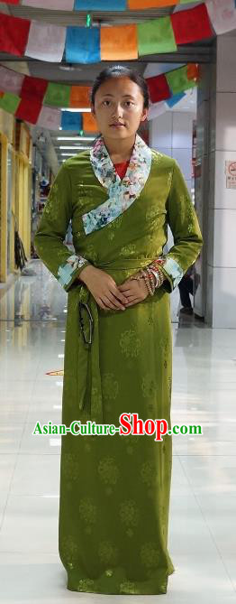 Chinese Traditional Zang Nationality Green Dress, China Tibetan Heishui Dance Costume for Women