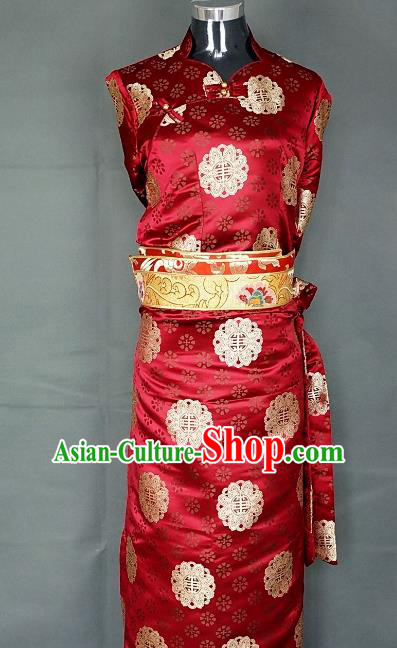 Chinese Traditional Zang Nationality Wine Red Dress, China Tibetan Heishui Dance Brocade Costume for Women