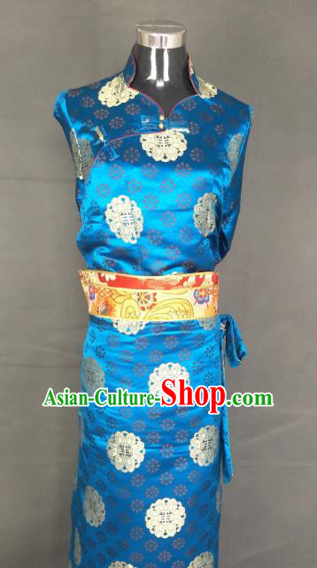 Chinese Traditional Zang Nationality Dress, China Tibetan Heishui Dance Blue Brocade Costume for Women