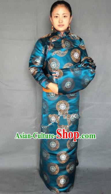 Chinese Traditional Zang Nationality Clothing Blue Tibetan Robe, China Tibetan Ethnic Heishui Dance Costume for Women