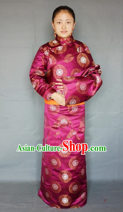 Chinese Traditional Zang Nationality Clothing Amaranth Tibetan Robe, China Tibetan Ethnic Heishui Dance Costume for Women